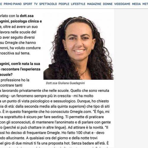 Intervista Tgcom 24 a Giuliana Guadagnini sulla chat Omegle